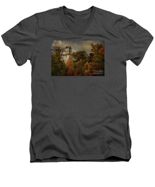Oakhurst Water Tower Men's V-Neck T-Shirt by Debra Fedchin