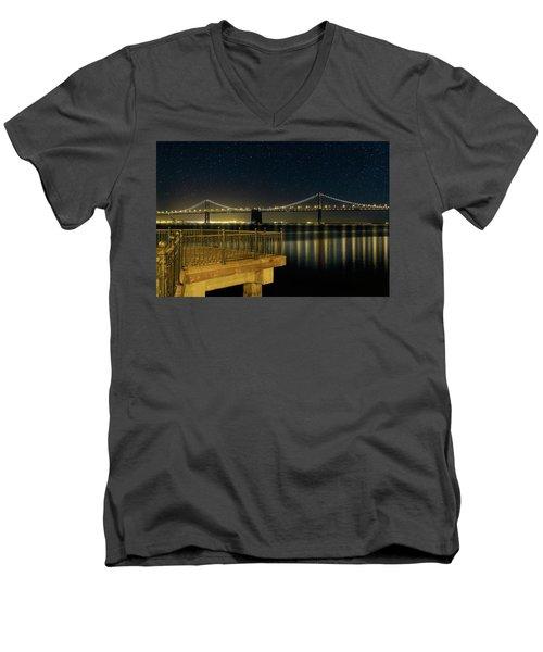 Oakland Bay Bridge By The Pier In San Francisco At Night Men's V-Neck T-Shirt