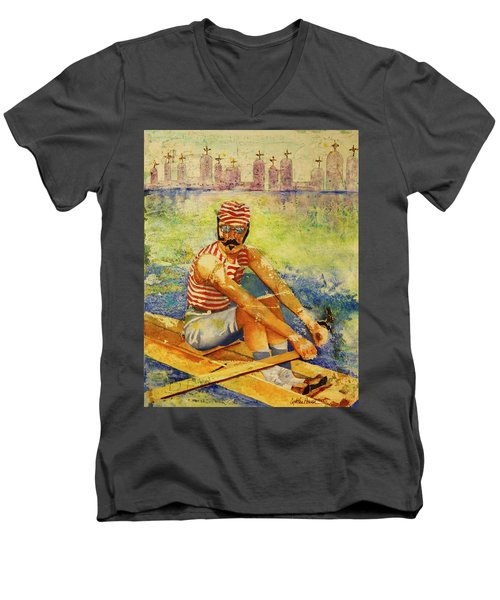 Men's V-Neck T-Shirt featuring the painting Oarsman by Cynthia Powell