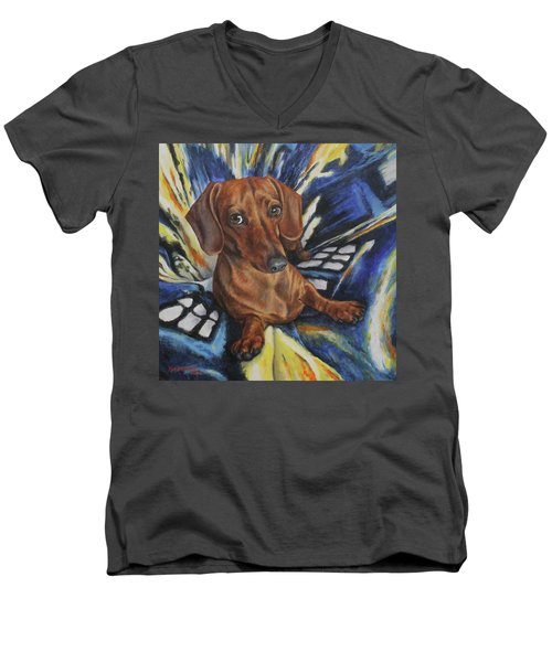 Men's V-Neck T-Shirt featuring the painting Obi by Kim Lockman