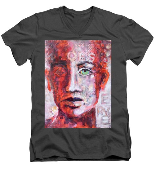 Men's V-Neck T-Shirt featuring the painting Observe by Mary Schiros