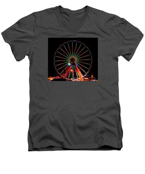 Oc Pier Ferris Wheel At Night Men's V-Neck T-Shirt by William Bartholomew
