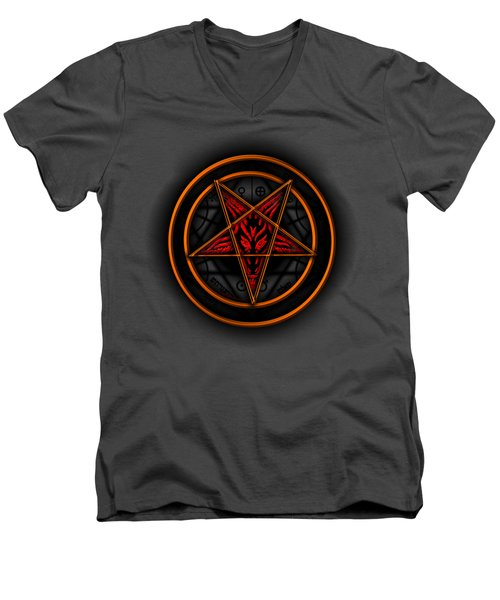 Occult Magick Symbol On Red By Pierre Blanchard Men's V-Neck T-Shirt
