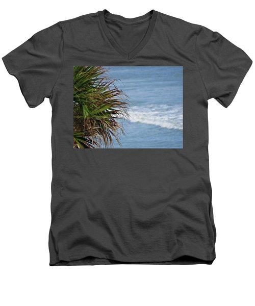 Ocean And Palm Leaves Men's V-Neck T-Shirt