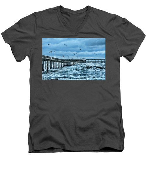 Ocean Beach Fishing Pier Men's V-Neck T-Shirt