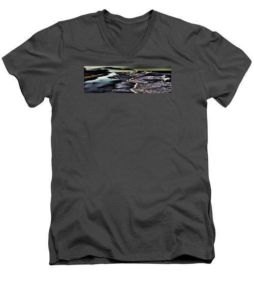 Men's V-Neck T-Shirt featuring the photograph Ocean Beach Night by Steve Siri