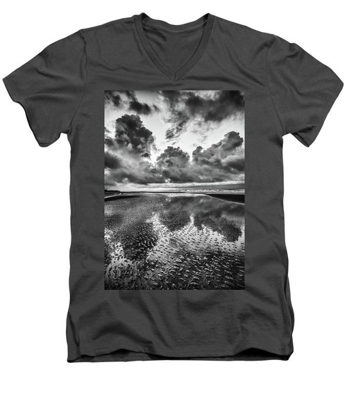 Men's V-Neck T-Shirt featuring the photograph Ocean Clouds Reflection by Donnie Whitaker