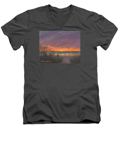 Men's V-Neck T-Shirt featuring the painting Ocean Daybreak # 2 by Kathleen McDermott