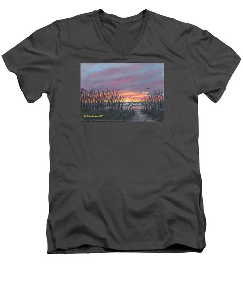 Men's V-Neck T-Shirt featuring the painting Ocean Daybreak by Kathleen McDermott