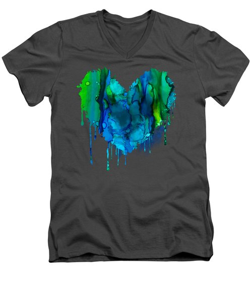 Men's V-Neck T-Shirt featuring the painting Ocean Depths by Nikki Marie Smith