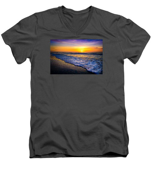 Ocean Drive Sunrise Men's V-Neck T-Shirt by David Smith