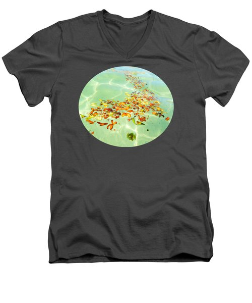 Men's V-Neck T-Shirt featuring the photograph Ocean Flowers Oval by Linda Hollis