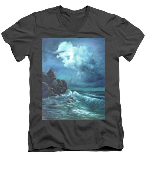 Men's V-Neck T-Shirt featuring the painting Seascape And Moonlight An Ocean Scene by Luczay