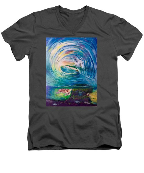 Men's V-Neck T-Shirt featuring the painting Ocean Reef Beach by Dawn Harrell
