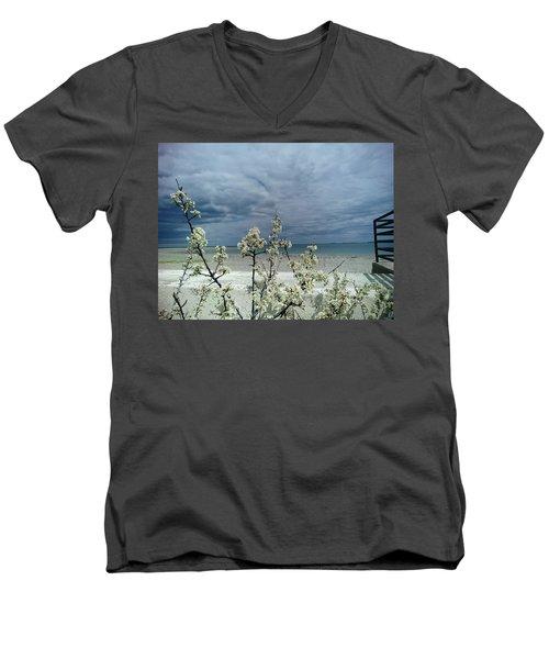Ocean Spring Men's V-Neck T-Shirt by Robert Nickologianis