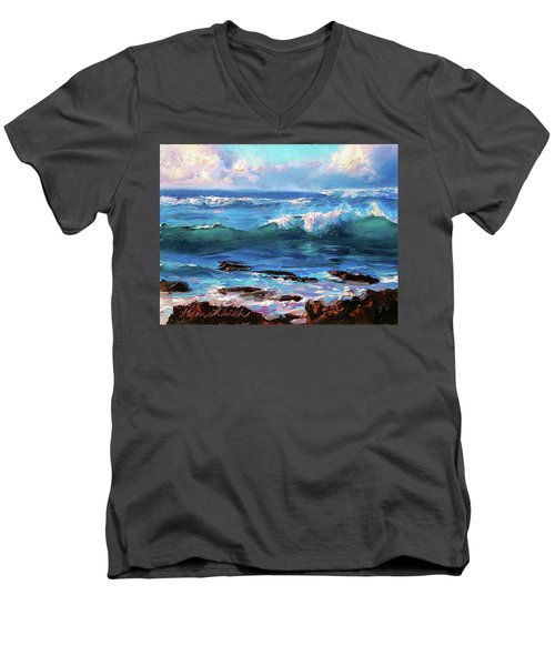 Coastal Ocean Sunset At Turtle Bay, Oahu Hawaii Beach Seascape Men's V-Neck T-Shirt