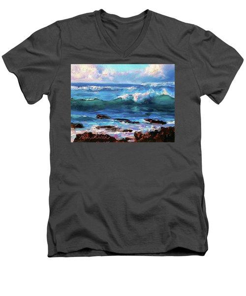 Ocean Sunset At Turtle Bay, Oahu Hawaii Men's V-Neck T-Shirt