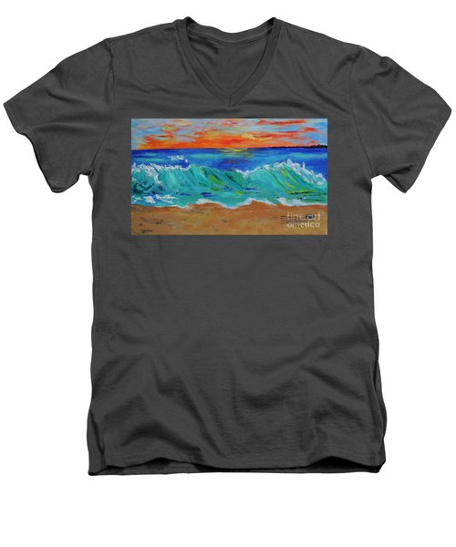 Men's V-Neck T-Shirt featuring the painting Ocean Sunset by Haleh Mahbod