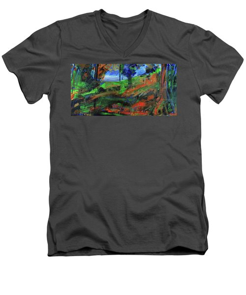 Men's V-Neck T-Shirt featuring the painting Ocean View Through The Forest by Walter Fahmy