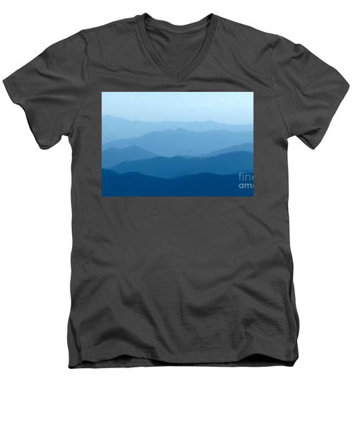 Men's V-Neck T-Shirt featuring the digital art Ocean Waves by Anthony Fishburne