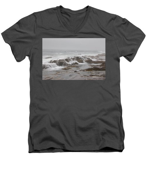Ocean Waves Over Rocks Men's V-Neck T-Shirt