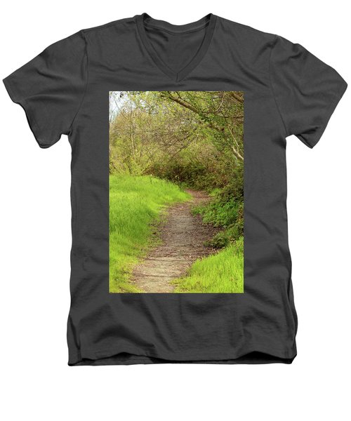 Men's V-Neck T-Shirt featuring the photograph Oceano Lagoon Trail by Art Block Collections