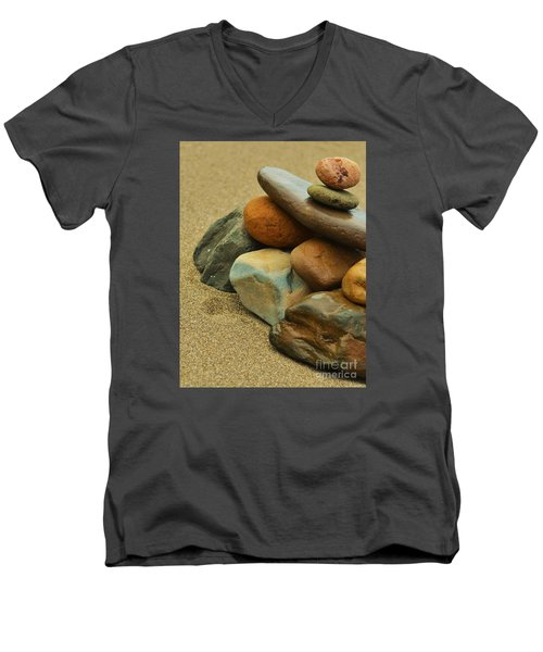 Men's V-Neck T-Shirt featuring the photograph Ocean's Art by Pamela Blizzard