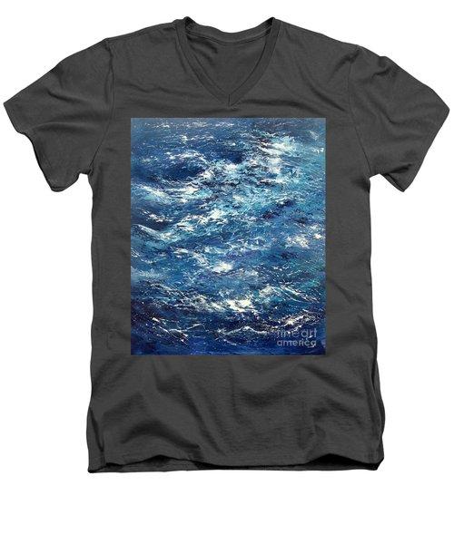 Ocean's Blue Men's V-Neck T-Shirt by Valerie Travers