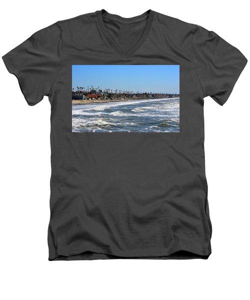 Men's V-Neck T-Shirt featuring the photograph Oceanside by AJ Schibig