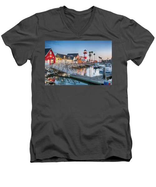 Oceanside Harbor Village At Dusk Men's V-Neck T-Shirt