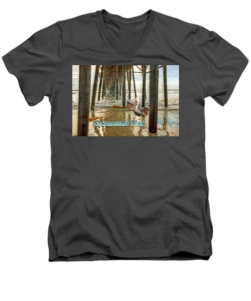 Oceanside - Pelican Under The Pier Men's V-Neck T-Shirt