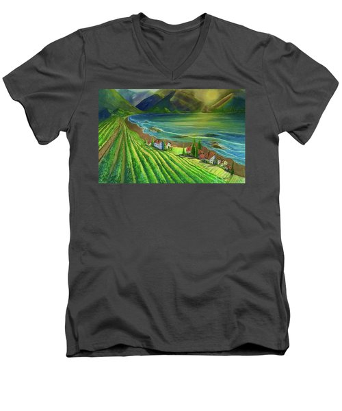 Sunset Vineyard  Men's V-Neck T-Shirt