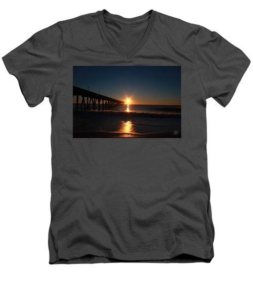 Men's V-Neck T-Shirt featuring the photograph Oceanview Sunrise by Geri Glavis