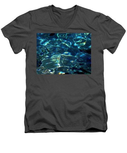 Men's V-Neck T-Shirt featuring the photograph Ocean Water Reflections Island Santorini Greece by Colette V Hera  Guggenheim