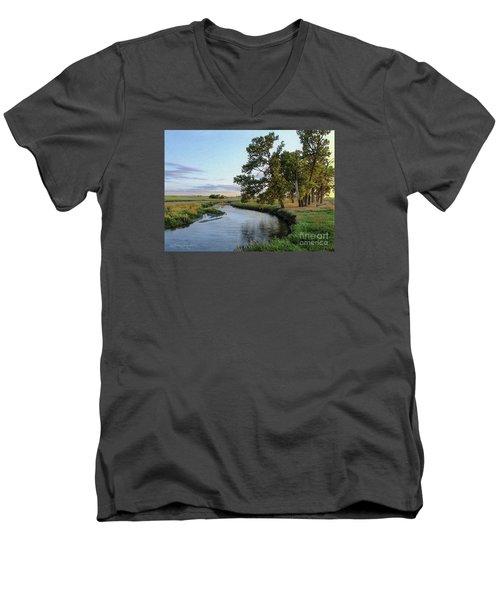 Ocheyedan Evening Men's V-Neck T-Shirt by Bruce Morrison