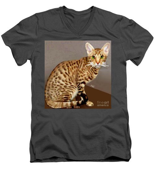 Men's V-Neck T-Shirt featuring the painting Ocicat by Marian Cates