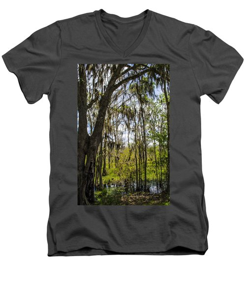 Ocklawaha Spanish Moss In The Swamp Men's V-Neck T-Shirt by Deborah Smolinske