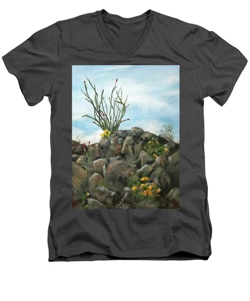 Men's V-Neck T-Shirt featuring the painting Ocotillo In Bloom by Roseann Gilmore