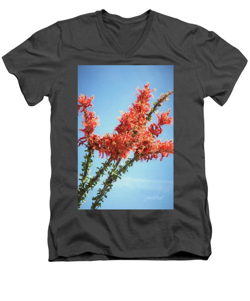 Ocotillo In Bloom Men's V-Neck T-Shirt