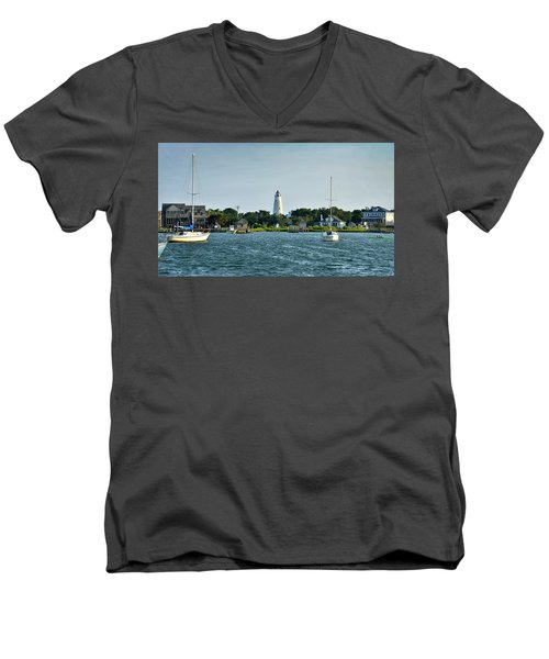Ocracoke Island Lighthouse From Silver Lake Men's V-Neck T-Shirt