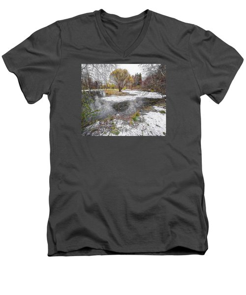 Men's V-Neck T-Shirt featuring the photograph October 2 by Vladimir Kholostykh