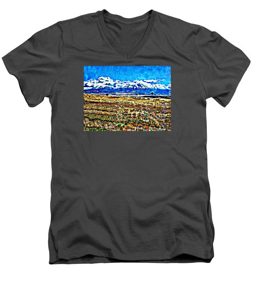 October Clouds Over Spanish Peaks Men's V-Neck T-Shirt by Anastasia Savage Ealy