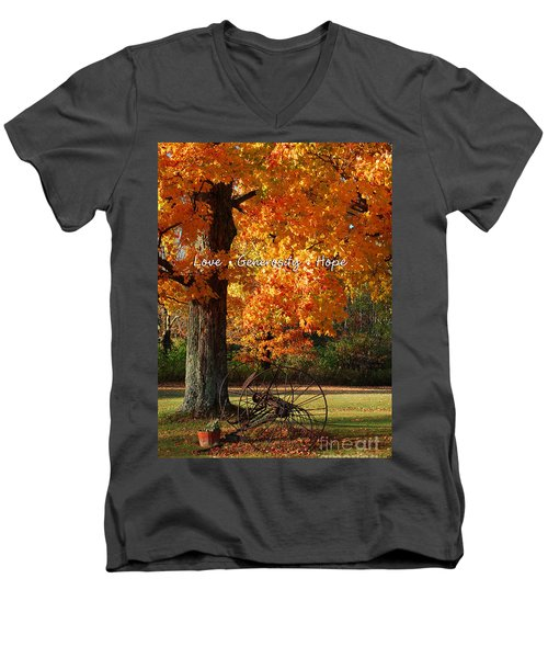 Men's V-Neck T-Shirt featuring the photograph October Day Love Generosity Hope by Diane E Berry
