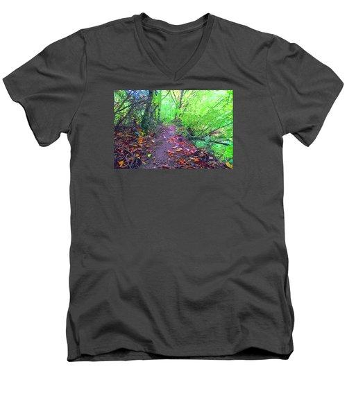 October Forest Pathway Men's V-Neck T-Shirt