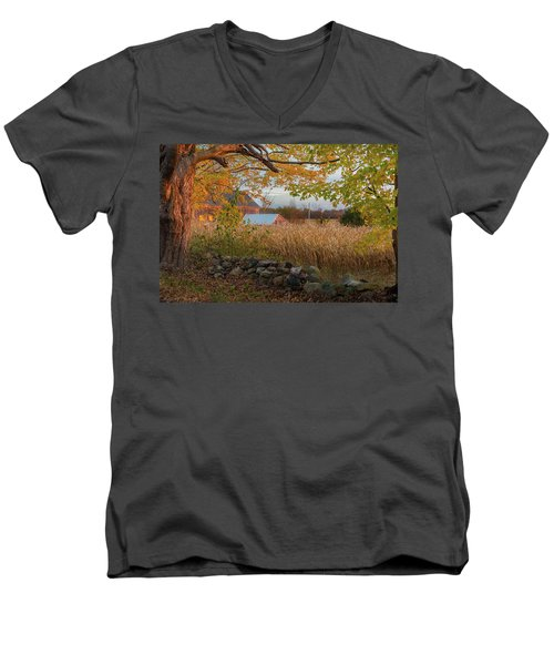 Men's V-Neck T-Shirt featuring the photograph October Morning 2016 by Bill Wakeley
