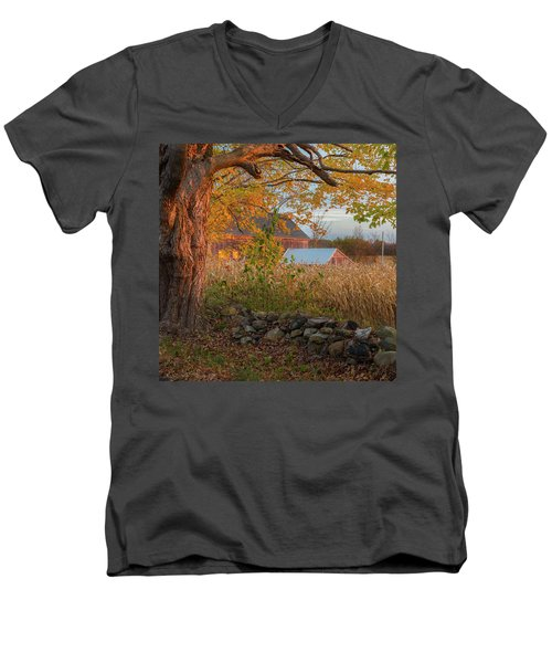 Men's V-Neck T-Shirt featuring the photograph October Morning 2016 Square by Bill Wakeley