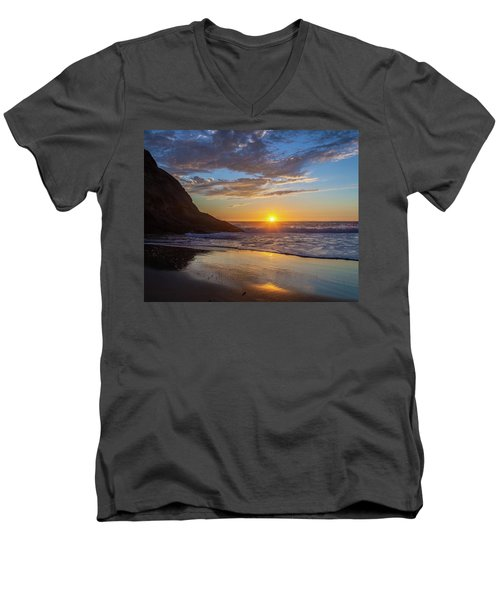 October Sunset Strands Beach Men's V-Neck T-Shirt