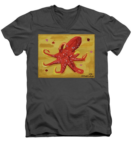 Octopus Men's V-Neck T-Shirt by Anthony LaRocca