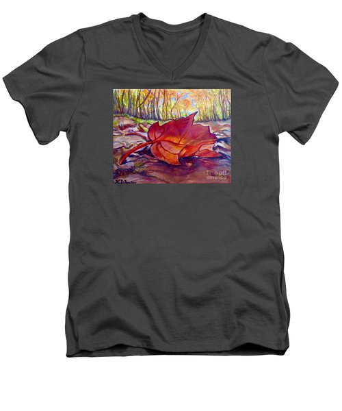 Ode To A Fallen Leaf Painting Men's V-Neck T-Shirt by Kimberlee Baxter