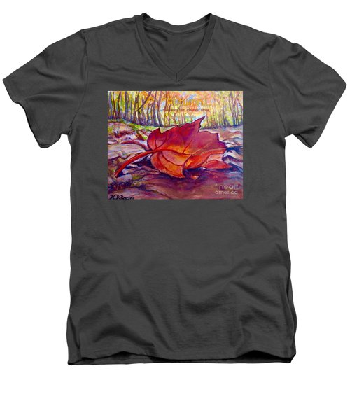 Ode To A Fallen Leaf Painting With Quote Men's V-Neck T-Shirt